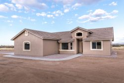 Front of new home built in Hereford Arizona.