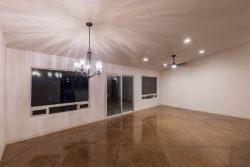 Great Room with stain concrete floor