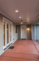 Rear Porch with ceiling fan and colored concrete
