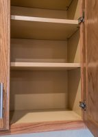 Shelves inside kitchen cabinets