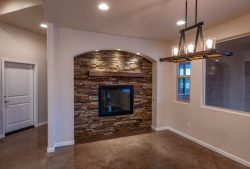 stone accent around fireplace