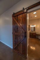 Roller barn door for master bathroom