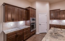 kitchen cabinets and double ovens