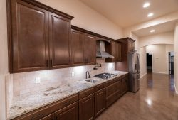 Kitchen cabinets with set in cooktop