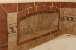 tile niche for storage by tub