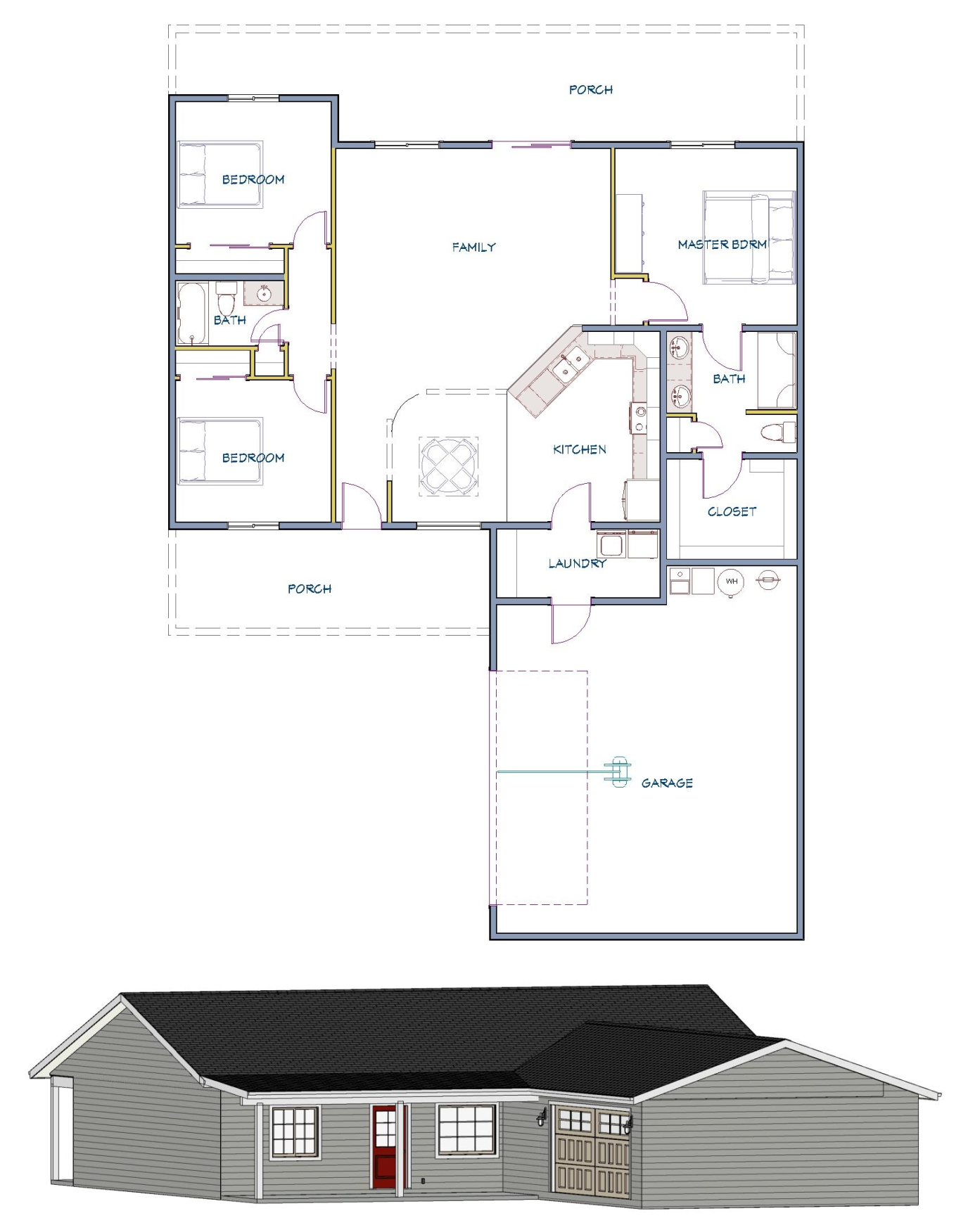 Floor layout and elevation of  home