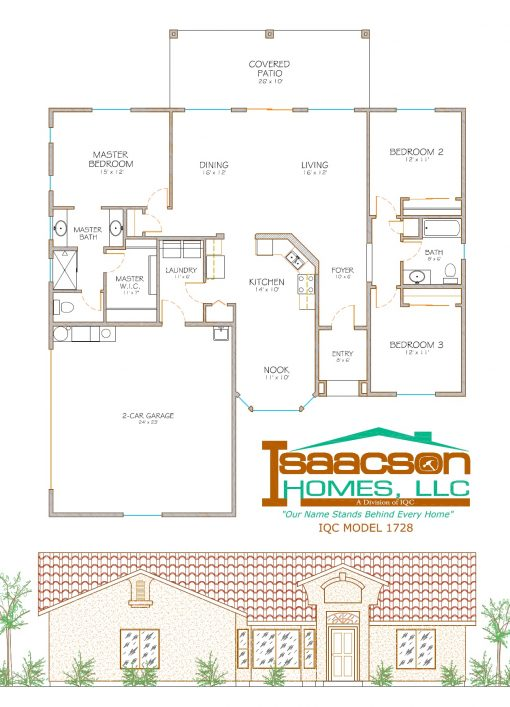 Floor layout and elevation of residence model #1728