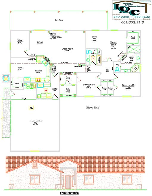 Floor plan and elevation of Isaacson Homes Model #2319