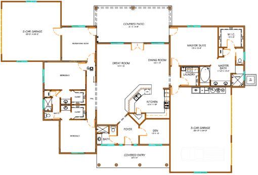 Floor plan of Model 2825 constructed by Isaacson homes south of Sierra Vista AZ