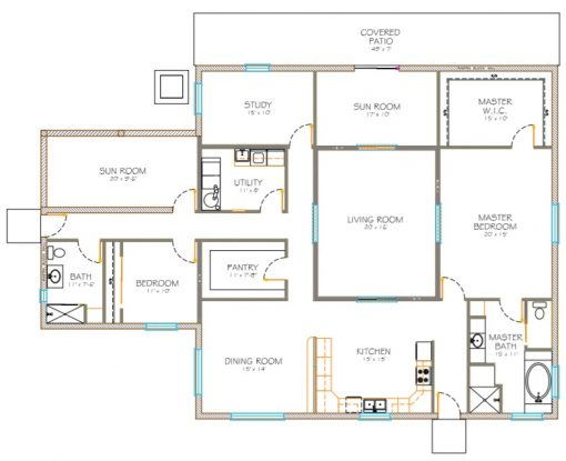 Custom designed floor plan.