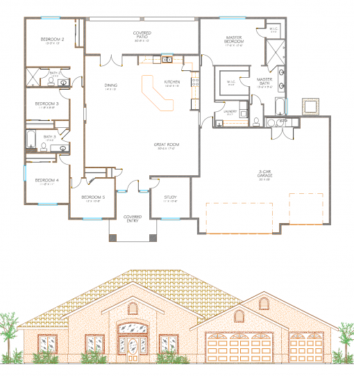 Floor layout of Isaacson Homes Model #2893